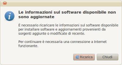 Le informazioni sul software disponibile non sono aggiornate